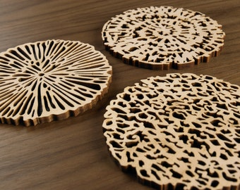 Hardwood Graphic Coasters - Cellular Series