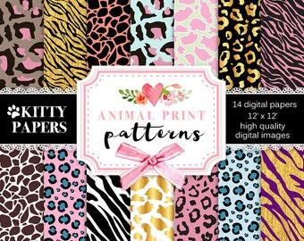 """Animal digital paper : """" Animal Print Patterns """" gold animal print patterns with zebra, tiger, giraffe, leopard for scrapbooking, cardmaking"""