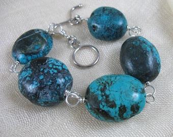 December Birthstone ~ Turquoise Bracelet ~ Turquoise Nuggets & Sterling Silver Chunky Bracelet