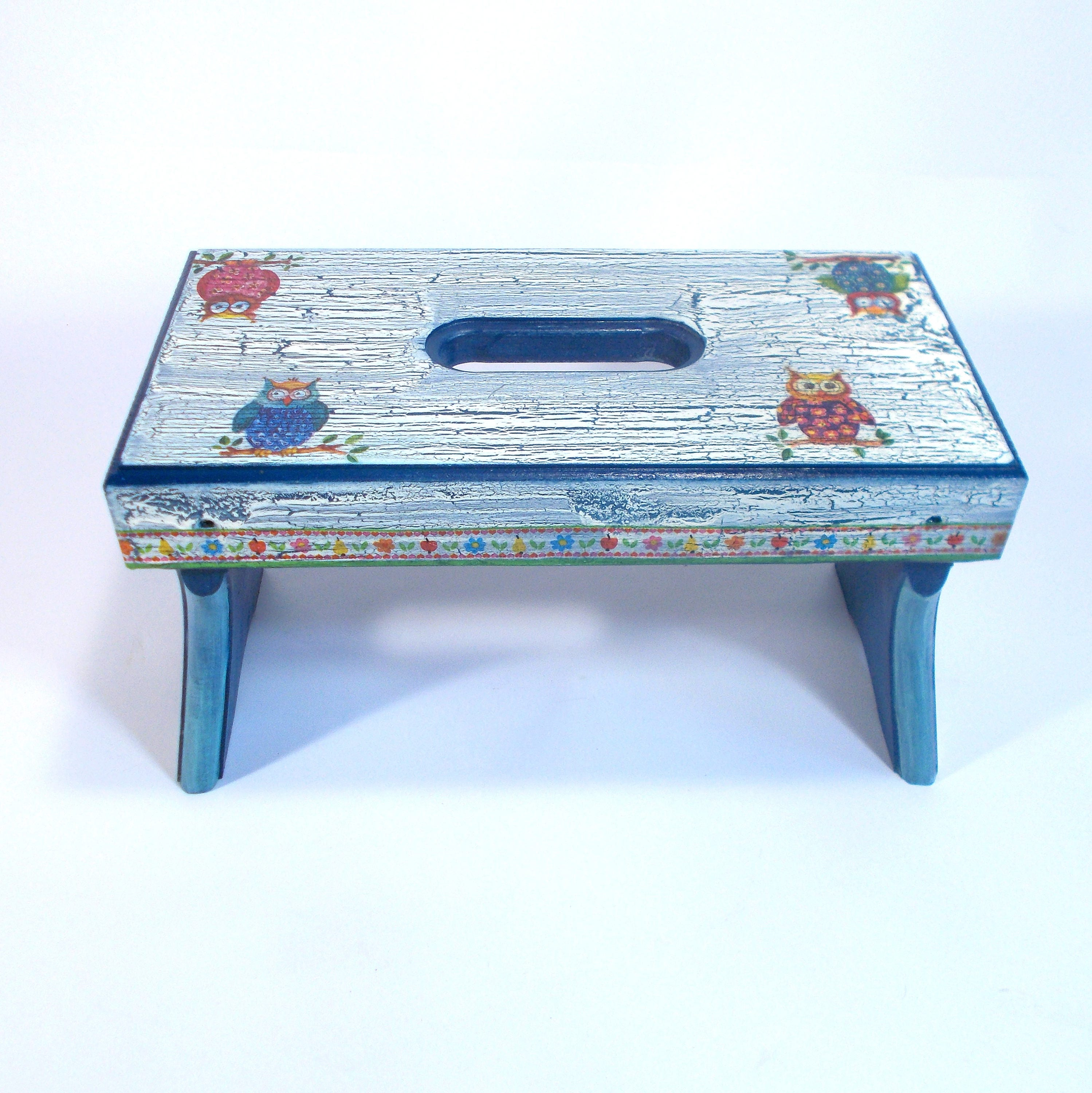 Decoupage wooden footstool bench bathroom stool for