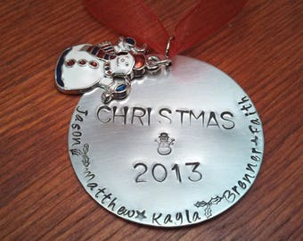 Hand stamped-Personalized Christmas ornament-Family Christmas gift-Family ornament-Family Christmas ornament-Christmas 2018