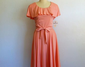 70s blush RUFFLE disco dress size M/L NWT
