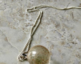 Pet memorial jewellery, sterling silver bubble pendant