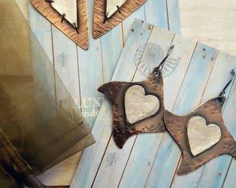 Dancing Heart Earrings, Silver Heart Earrings,Hammered Copper Earrings,  Mixed Metals Jewelry