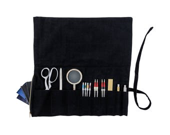 Black Canvas Tool Roll with Zipper Pouch