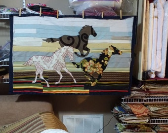 Horses Wall Hanging, CANCER AWARENESS, Horse Equine Tapestry
