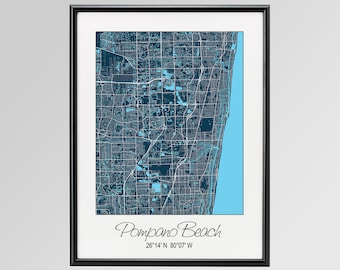 Pompano Beach Florida Map, Pompano Beach City Print, Pompano Beach Poster, Pompano Beach Wall Art gift, Custom city, Personalized map