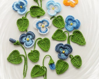 Crochet Applique - Pansy Viola Flowers and Leaves Set - Pansies and Violas Flowers