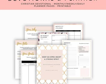 Christian Printable 2018 Devotional & Planner | Daily, Weekly, Monthly Spread, U.S. Letter Size | Instant Download