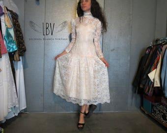 Vintage Lace Gunne Sax Style Wedding Dress