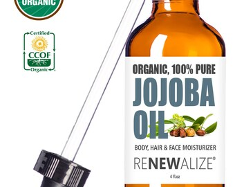 Organic Jojoba Oil | USDA Certified Organic by CCOF | Cold Pressed, Unrefined in Huge 4 oz. Dark Glass Bottle with Glass Eye Dropper
