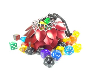 Dungeons And Dragons Medium Red Dice Bag Scalemaille And Chainmaille Aluminum - SKDB-SC-M-RD