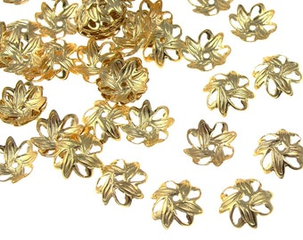72 Gold Bead Caps 9mm Petal Bright Gold Beadcaps Gold Plated Findings Jewelry Bead Caps (FS44)