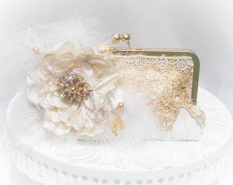 Wedding Handbag / Ivory Clutch / Lace Clutch / Rustic Eleganct Wedding / Garden Wedding