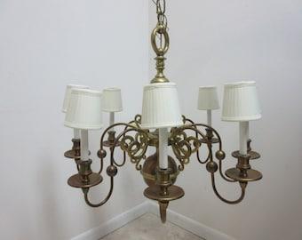 Vintage Brass Quality Williamsburg Federal Hanging Chandelier