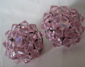 Pink Cluster Earrings Clip Glass Vintage