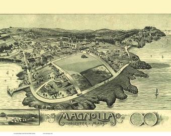 Magnolia Gloucester Massachusetts 1887 Birds Eye View MA