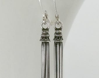 Sterling Silver Tassel Earrings, Dangle earring, small fringe drop
