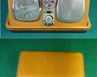 Vintage Sloan  Leather Case Travel Clock / AM Radio with Instruction Manual