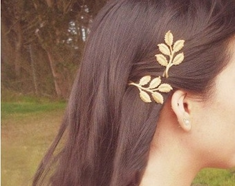 2 Styles/ Vintage Gold Metal Leaf Branch hair pins clips/Bronze clamp barrette/Women Hair Clips
