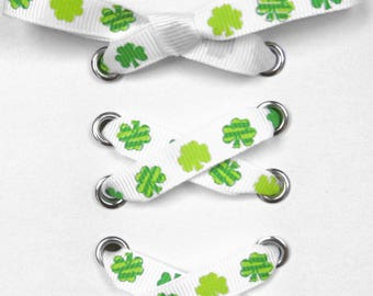 "THE SHOELACES SHOP-Clover Ribbon Shoe Laces, Green Shoelaces, Grosgrain Shoelaces, Shoestrings, Shamrock Shoelaces, ""Your Lucky Shoelaces"""