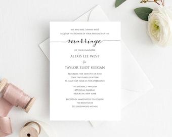 Marriage Invitation Template, Editable Wedding Template, DIY Wedding Printable, Personalized Invitation, Rustic Wedding Invitation