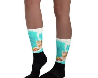 Kitty Cat Surfing Burrito Socks