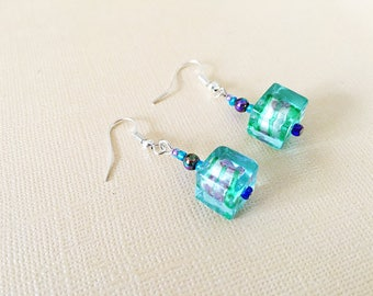 Glass Earrings, Blue Glass Earrings, Handmade Earrings, Lampwork Glass Earrings, Italian Glass Earrings, Blue Earrings