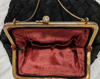 1940s Vintage Black Silk Grosgrain Ribbon Evening Bag Beaded Purse Handbag Forties