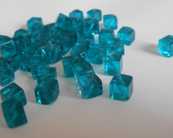 Glass pearls, cubic beads, square, turquoise, 6mm beads, jewelry supplies