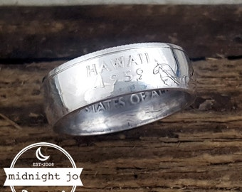 Hawaii Coin Ring - 90% Silver Quarter Ring - Silver Coin Ring - Hawaii Ring - Hawaii Jewelry - Hawaii Wedding - Silver Wedding Rings