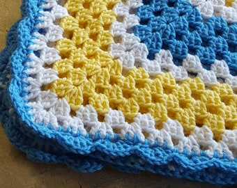 Beautiful blue, white, and yellow crocheted granny square baby blanket; great gift for a baby