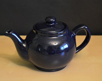 P&K Price Kensington Dark Blue Teapot, English 2 cup, Midnight Blue, Single Serving, Made in England
