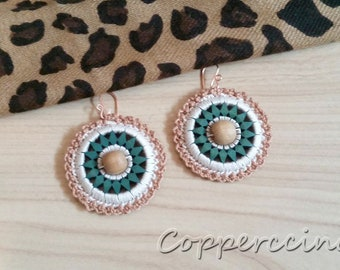 Crochet and Wood Earrings - Dark Teal, Neutral Colors - Crochet Jewelry, Fiber Jewelry