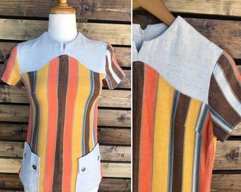 Vintage 70's multi color stripe brady bunch  top