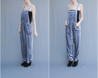 RESERVED MAE.VALENTE Vintage Grey Velvet Slouchy Overalls