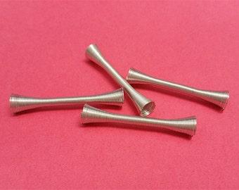 20pc 40X7mm platinum look long spring beads-1719B