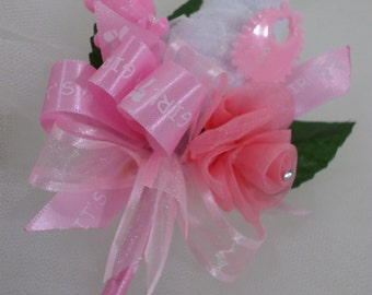 Baby Girl Shower Boutonniere - Father-To-Be - Grandmother - Pink/White Boutonniere - White Washcloth Flower