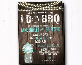 Teal I Do BBQ Invitation - Rustic Hydrangea - Couples Wedding Shower Invite - Barn Wood - String Lights - Country Farm Wedding - Flower Jar