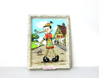 3D Pinocchio Wall Hanging Plastic Iversen Disney Picture Children's Room Decor Kid's Nursery Disneyana Fairy Tale