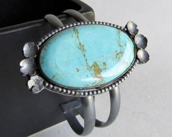 Kingman Turquoise Double  Cuff Bracelet - Medium Cuff Bracelet - Statement Jewelry - Southwestern Boho Style - December Birthstone