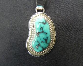 Vintage Pendant Native American  Indian Bezel Set   Turquoise  Hallmarked Sterling  and J.J.