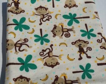 Baby Receiving Blanket, Monkey Blanket, Baby Blanket, Monkeys and Bananas, Large Blanket, Swaddle Blanket, Flannel Blanket, Brown and Green
