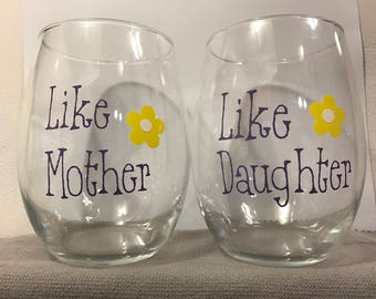 like mother like daughter, Mothers Daughter glasses, Mothers day gift, Gift for mom, Birthday for mom, Birthday for Daughter,