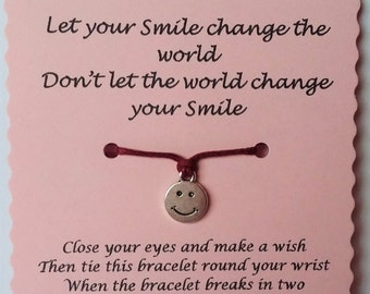 Smile wish bracelet, Friendship Bracelet, Friend Bracelet, Smile bracelet, Friends gift, Charm Bracelet, Keepsake card, Quotes jewelry