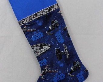 Blue and black Christmas stocking