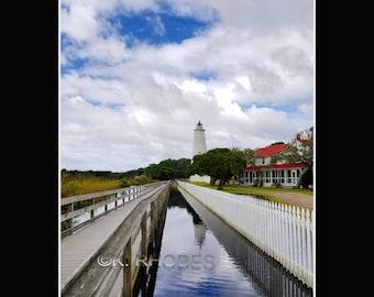 Ocracoke Island Lighthouse Hurricane Maria Reflections Photographic Print matted in black North Carolina