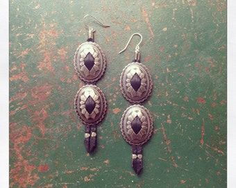 Leather Concho Earrings / 2 Conchos