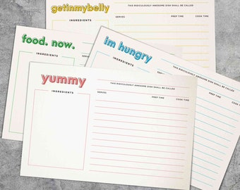 Hungry Recipe Cards 4x6 Digital Download