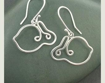 Sterling Bunny Earrings, White Rabbit Earrings, Silver Bunny Earrings, Sterling Silver Wire Rabbits